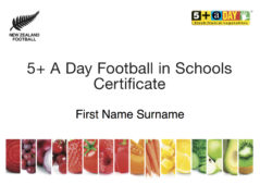 5 A Day Football In Schools Certificate